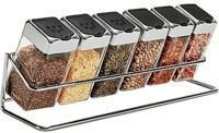 Spice Rack w/ 6 Glass Jars
