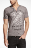 Men's Henley Lion Seal Graphic T-Shirt