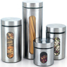 Cook N Home 4-Pc. Glass Canister w/ Stainless Window Set