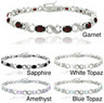 Glitzy Rocks Silvertone Gemstone and Diamond Accent Bracelet