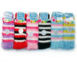 6 Pack Striped Furry Toe Socks for Women
