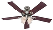 52 in. Indoor Antique Pewter Ceiling Fan