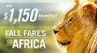 Fly R/T, Nonstop to Cape Town, Johannesburg & More