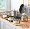 14-Piece Gold-Plated Stainless Steel Cookware Set