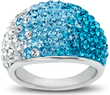 Ring w/ Teal-Sky-White Fade Swarovski Crystal