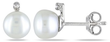 Silver .02ct TDW & 7-8mm FW Button White Pearl Earrings