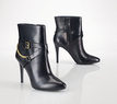 Ralph Lauren Women's Chain Buckled Leather Booties