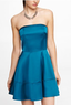 Women's Strapless Satin Fit and Flare Dress