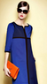 Blue Quarter Sleeve Loose Straight Dress